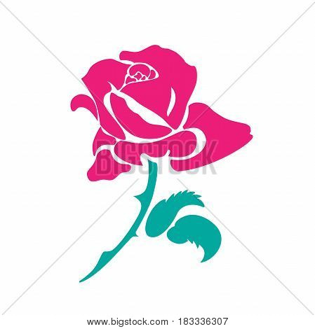 Stylized image of a rose flower. Planar composition. Painted colored illustration on white background. Raster illustration. Crimson blooming rose Bud with curved green stem and two leaves.