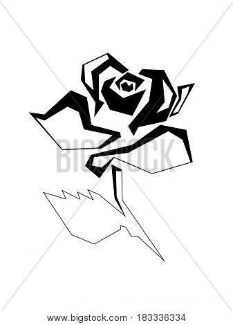 Straight-line acute-angled stylized image of a rose flower. A blossoming rosebud with one leaf on a short stem. Raster illustration. Black image on white background.
