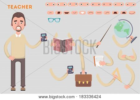 Body parts template for design work and animation. Funny cartoon teacher is a character. Vector illustration on a light background. Sets that the character says the teacher animation.
