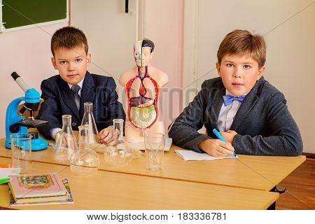 Students at the lesson of chemistry or biology in school. Educational concept.