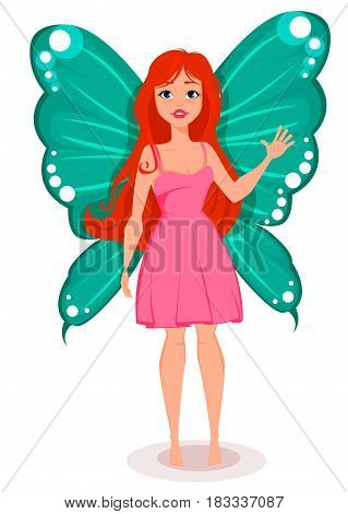 Fairy with butterfly wings. Beautiful redhead cartoon character. Stock vector