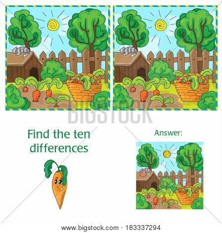 Find ten differences between the two images carrots in the garden
