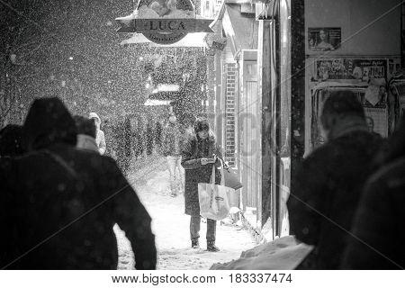 Bucharest Romania January 2017: People walking in Bucharest