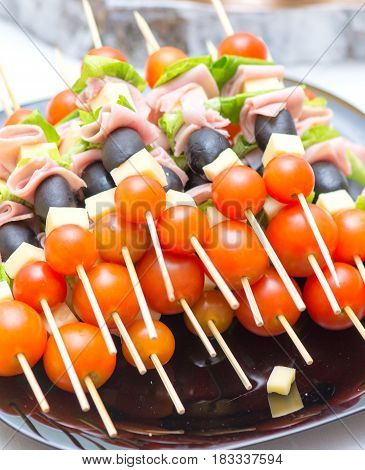 Appetizers Mix at wedding time. close details