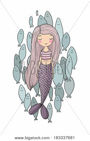 Beautiful little mermaid and a flock of fish. Siren. Sea theme. isolated objects on white background. Vector illustration.