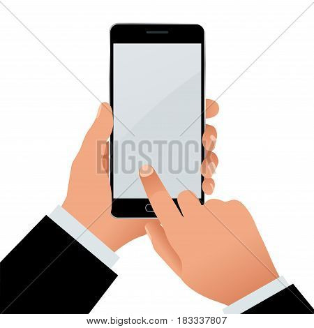 Male hand holding a phone with blank screen. Flat Isolated illustration on white background.