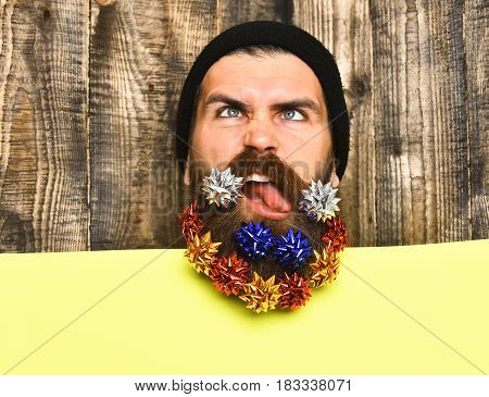 Bearded Man, Brutal Caucasian Funny Hipster With Gift Decoration Stars