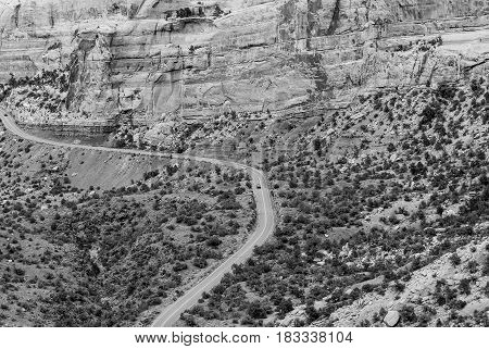 Driving Through The Colorado National Monument In Monochrome