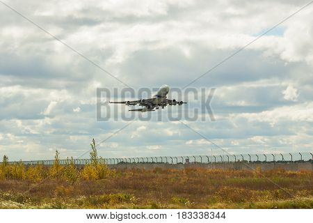 Borispol Ukraine - October 2 2011: El Al Boeing 747 passenger plane is taking off on a cloudy day from the airport