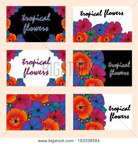 Vector set of cards. Bright tropical flowers
