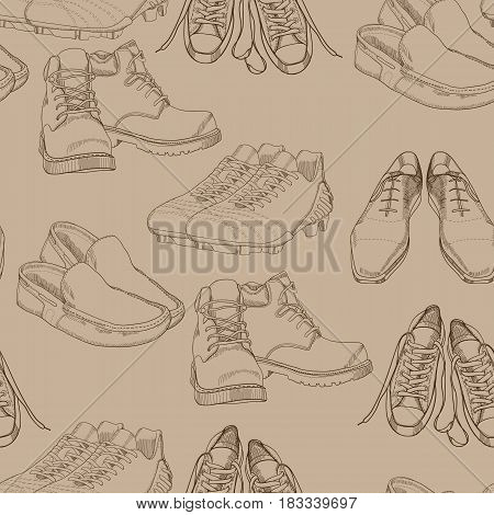 Vector illustration of hand drawn seamles pattern Men Footwear. Casual and sport style, gumshoes for man. Shoes for all seasons. Retro and vintage paper. Doodle, drawing wallpaper, wrapping paper, backdrop.