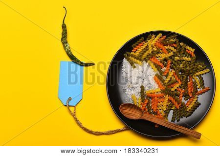 Colorful Dried Fusilli Pasta And Blank Blue Tag