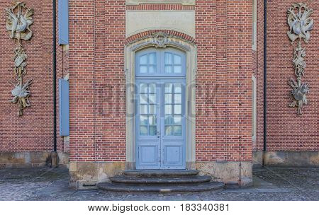 SOGEL, GERMANY - JULY 19, 2016: Entrance of the Clemenswerth castle in Sogel, Germany