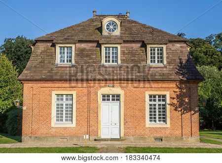 SOGEL, GERMANY - JULY 19, 2016: Paderborn building of the Clemenswerth castle in Sogel, Germany