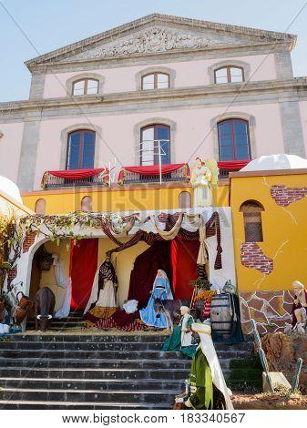 A nativity scene in the town square La Orotava Tenerife Spain