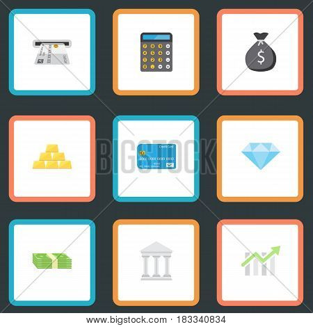 Flat Bar Diagram, Jewel Gem, Teller Machine And Other Vector Elements. Set Of Commerce Flat Symbols Also Includes Diamond, Salary, Calculator Objects.