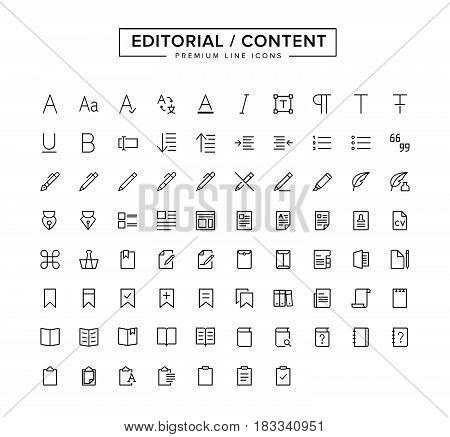 Editorial Content Line Icon Set.  Vector Illustration.
