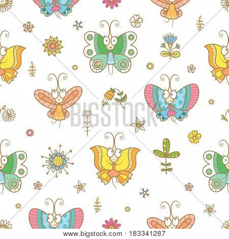Seamless pattern with cute cartoon butterflies in dresses on white background. Funny animals, flowers and plants. Vector contour  image.