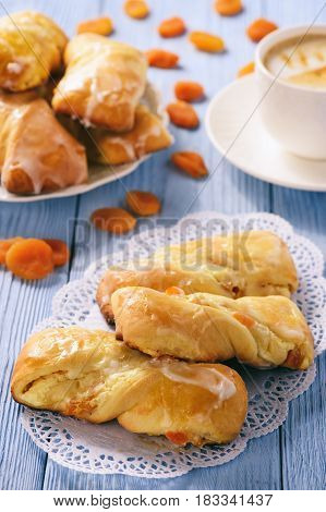 Homemade sweet bread rolls stuffed with cheese.