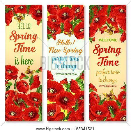 Hello Spring floral greeting banner set. Red flowers of garden poppy, green leaves and floral bud with flying butterfly. Floral arrangement for springtime holidays invitation card design