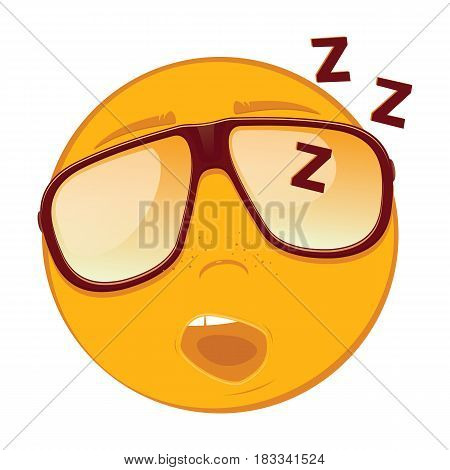 Cute sleeping emoticon in a sunglasses on white background. Vector illustration.