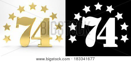 Golden number seventy four on white background with drop shadow and alpha channel decorated with a circle of stars. 3D illustration