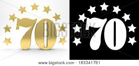 Golden number seventy on white background with drop shadow and alpha channel decorated with a circle of stars. 3D illustration