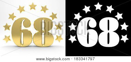 Golden number sixty eight on white background with drop shadow and alpha channel decorated with a circle of stars. 3D illustration