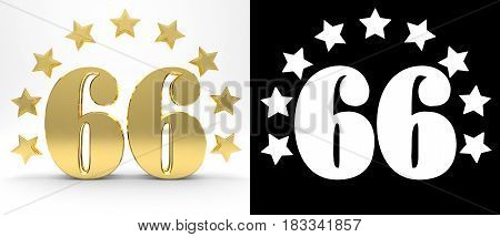 Golden number sixty six on white background with drop shadow and alpha channel decorated with a circle of stars. 3D illustration