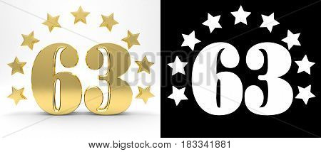 Golden number sixty three on white background with drop shadow and alpha channel decorated with a circle of stars. 3D illustration