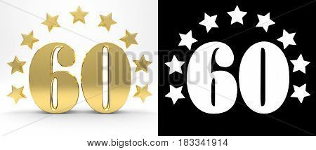 Golden number sixty on white background with drop shadow and alpha channel decorated with a circle of stars. 3D illustration