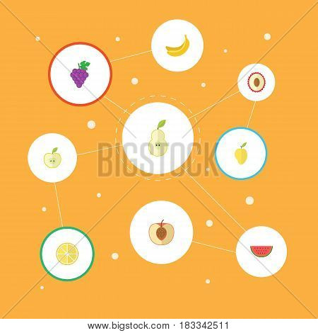 Flat Mango, Jonagold, Cluster And Other Vector Elements. Set Of Fruit Flat Symbols Also Includes Lemon, Melon, Tropical Objects.