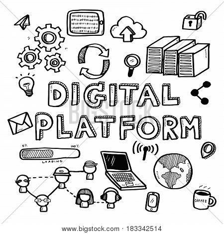 Hand Draw Business Doodles Digital Platform Icons And Words Set On White Background.concept For Busi