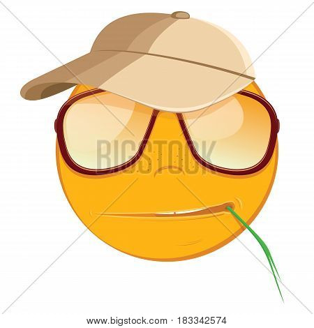Emoticon suspicious in a sunglasses on white background. Vector illustration.