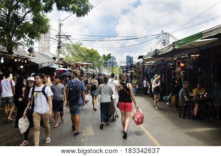 Asian Thai People And Foreigner Travelers Walking Shopping And Visit Local Shop At Chatuchak Weekend