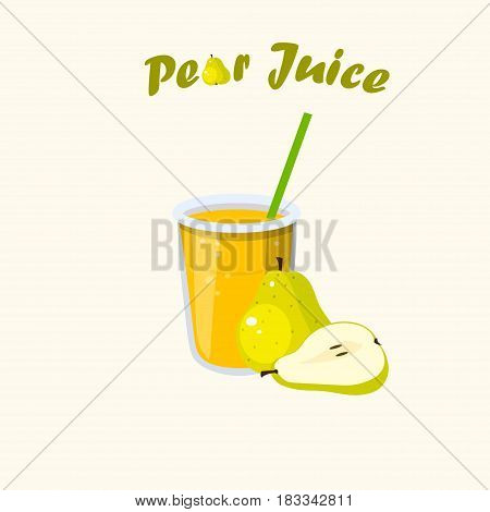 Very high quality original trendy vector illustration of pear juice with whole and cut sweet pear