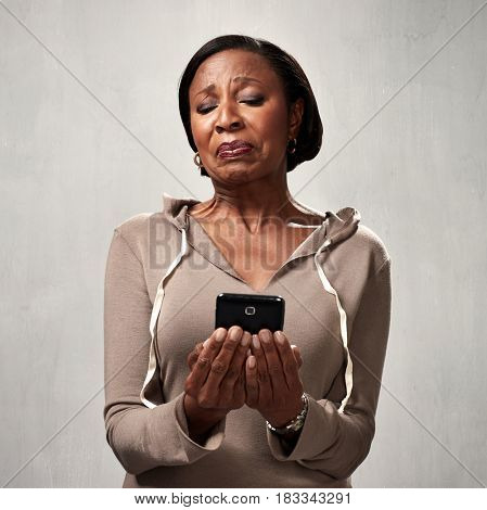 discontented woman with smartphone