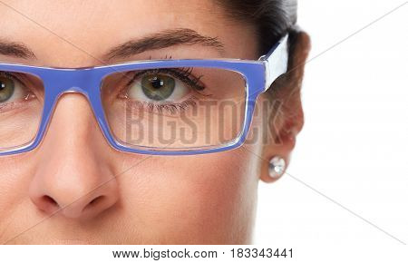 Woman eyes with eyeglasses.