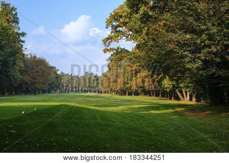 Monza (Brianza Lombardy Italy): the park at fall (october) a fairway of the golf course