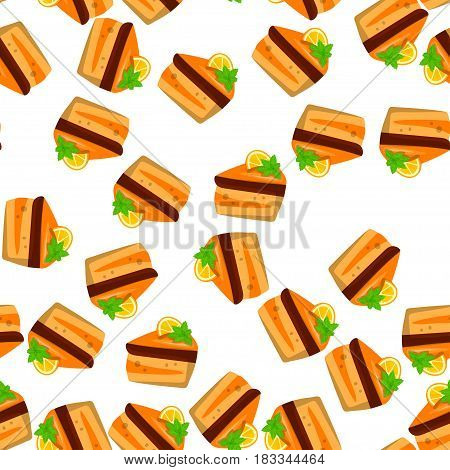Very high quality original trendy vector seamless pattern with orange cake or pie