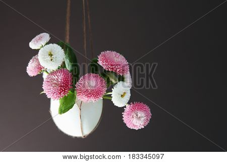 Easter Background With Flowers Hanging In Egg Shell, Space For Text