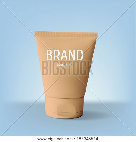 Package design cosmetic products. Foundation realistic tube template. Vector illustration.