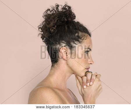 Women Hands Thinking Serious Expression Studio
