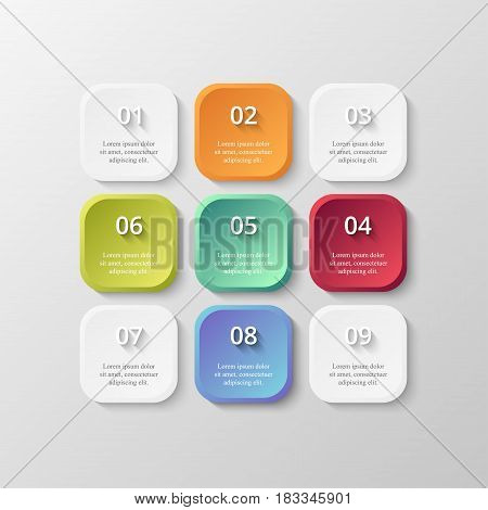 Infographics step by step. Universal abstract element of chart graph diagram with 9 steps options parts processes. Vector business template for presentation and training.