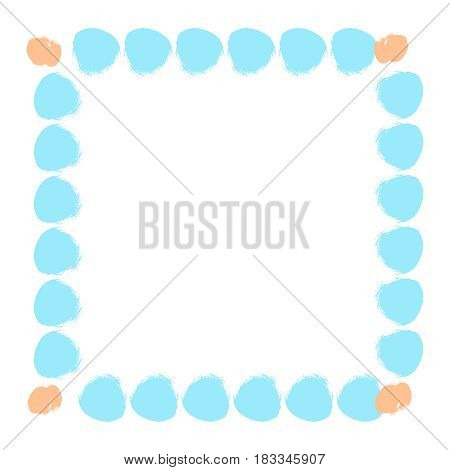 Abstract colorful hand drawn frame. Square vector border with circle brush strokes. Cartoon style simple design