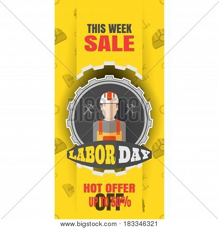 Vector vertical banner of Happy Labor Day sale with label of gear cut from paper yellow paper stripe on the background with pattern.