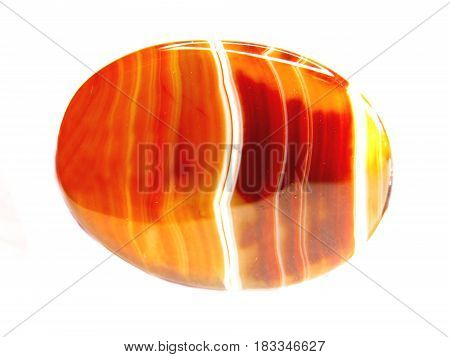 round carnelian crystal geological red quartz isolated