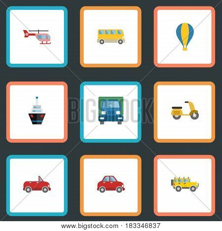 Flat Truck, Jeep, Scooter And Other Vector Elements. Set Of Vehicle Flat Symbols Also Includes Motorbike, Bus, Suv Objects.