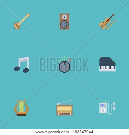 Flat Fiddle, Lyre, Mp3 Player And Other Vector Elements. Set Of Melody Flat Symbols Also Includes Control, Musical, Instrument Objects.