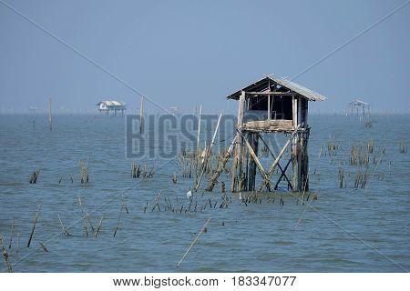 Scenery of Bang Ta Boon Bay at Phetchaburi Province Thailand.